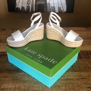 White Kate Spade Tarin Platform Sandals